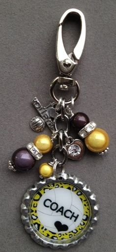 This listing is for one PERSONALIZED bottle cap bag bling.  This makes a great gift for any volleyball coach or player. Just let me know the name that you wish to appear on the cap and consider it done!  This bag bling is decorated with gray and yellow beads, an I LOVE VOLLEYBALL charm and a ...