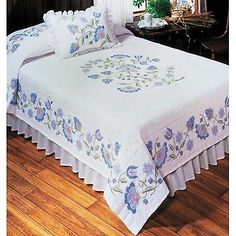 "NIP Tobin 'Country Manor' Quilt Double Size Stamped for Cross Stitch 90"" X 103"""