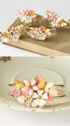 Bridesmaids Bracelets 4 Vintage Shabby Chic Wedding Jewelry Collage Cuff bracelets In the color of your choice