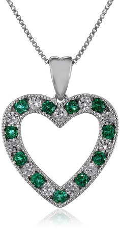 Sterling Silver Created White Sapphire Heart Pendant Necklace (1.00cttw), 18' >>> Details can be found by clicking on the image.