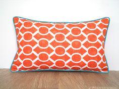 Orange pillow cover 20x12 geometric print, orange and turquoise lumbar case, trellis cushion dorm room decor, modern throw pillow piping