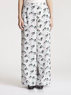 Marni Silk Bear Print Pants