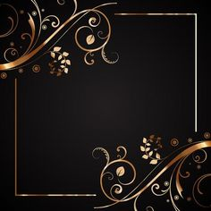 Floral frame in gold and black Free Vector Gold Wallpaper, Heart Wallpaper, Cellphone Wallpaper, Wallpaper Backgrounds, Wallpaper Desktop, Wallpapers, Frame Floral, Floral Border, Border Design