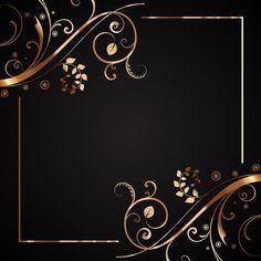 Floral frame in gold and black Free Vector Gold Wallpaper, Heart Wallpaper, Cellphone Wallpaper, Wallpaper Backgrounds, Paper Wallpaper, Wallpaper Desktop, Frame Floral, Border Design, Wire Art