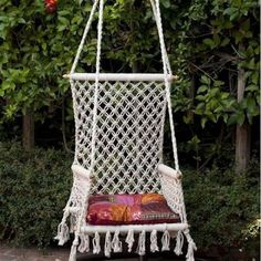 Folding Hammock Chair by HANDS sold by Timeless Treasures. Shop more products from Timeless Treasures on Storenvy, the home of independent small businesses all over the world. Backyard Hammock, Hammock Swing, Hammock Chair, Swinging Chair, Hammocks, Hammock Ideas, Macrame Hanging Chair, Macrame Chairs, Macrame Plant Hangers