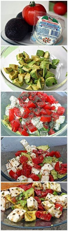 Ingredients : 2 avocados (peeled, pitted, & cubed) 2 - 3 tomatoes (cubed) 1 ball fresh mozzarella cheese (cubed) 2 Tbsp extra ...