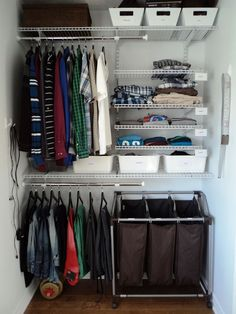 Just did a bit of tweaking of my son's closet. Getting the laundry sorter into the closet frees up floor space in the room. Love these easy-to-adjust shelves and rods!