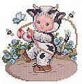 Ellen Maurer-Stroh Ladybug Baby - Cross Stitch Pattern. Model stitched on fabric of your choice with DMc floss. The stitch count is 94W x 80H.