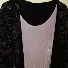 Stretchy Dressy black lilac top 2x ~ like new worn once smoke free pet free home. Studio 1940 Multi layered look.92% nylon 8% spandex wonderful feel top. Flower Starburst design on black. Gorgeous Studio 1940 Tops