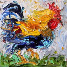 Original Dancing Rooster palette knife painting by Karensfineart