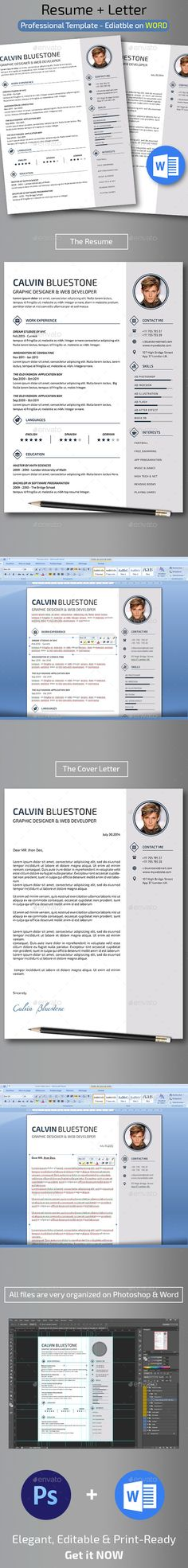 How To Make A Resume In Word Resume Template  Cv Template For Word  Professional Resume Design .