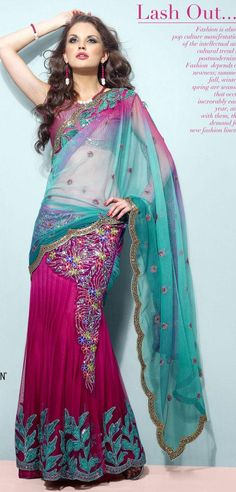 Pink And Teal Blue Faux Georgette And Net Lehenga Saree 16081 With Unstitched Blouse