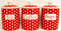 Red Dots Tea Coffee Sugar Canisters Bone China Storage Jars Decorated UK