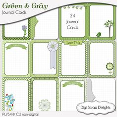 Green & Gray Digital Project Life Type Cards by DigiScrapDelights  Printable Journal Cards