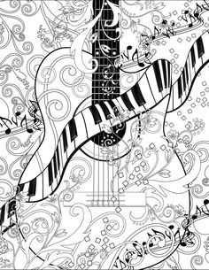 Adult Coloring Page, Printable Adult Guitar Coloring Poster, Piano Coloring Page…