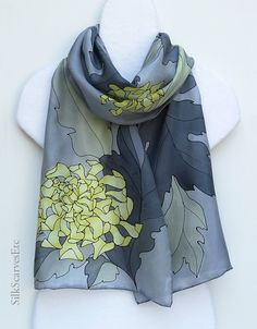 Hand painted silk scarf Yellow gray silk scarf by SilkScarvesEtc
