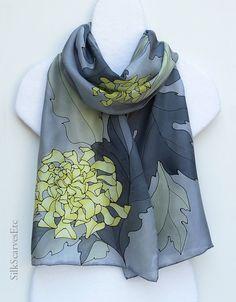 Hand painted silk scarf Yellow gray silk scarf by SilkScarvesEtc