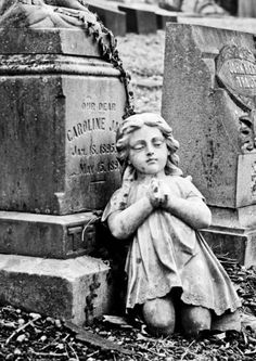 "Cemetery Walk - ""This was my favorite monument, sad and creepy at the same time. The girl had broken off of the top of the monument and was resting against the stone."" - Words & Photo by Pamela Greer Cemetery Monuments, Cemetery Statues, Cemetery Headstones, Old Cemeteries, Cemetery Art, Angel Statues, Graveyards, Cemetery Angels, Between Two Worlds"