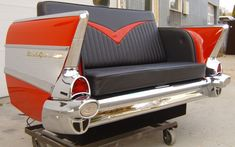 Black and Red 1957 Chevy Bel Air Car couch! 70s Furniture, Car Part Furniture, Automotive Furniture, Automotive Decor, Handmade Furniture, Furniture Design, Automotive Engineering, Recycled Furniture, Automotive Design