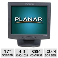 """Get a cost effective touch screen monitor with the Planar PT1710MX 17"""" Touch screen LCD Monitor - 5ms, 800:1, SXGA 1280x1024, VGA(D-sub), USB, Serial, Built-In Speakers, 5-Wire Resistive."""