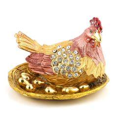 Mother Hen with Golden Eggs Trinket Box