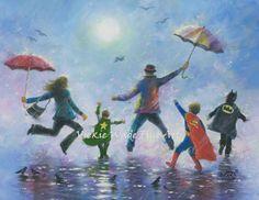 Singing in the Rain Three Boys Art Print, happy family dad, super hero kids, three boys wall decor, three brothers paintings, Vickie Wade by VickieWadeFineArt on Etsy https://www.etsy.com/listing/183152634/singing-in-the-rain-three-boys-art-print
