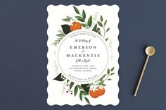 """""""Orange Blossoms"""" - Floral & Botanical, Rustic Wedding Invitations in Pearl by Susan Moyal."""