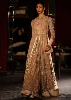 Model on runway for sabyasachi wearing Cream gown at Indian couture week July 2014 Pakistani Wedding Dresses, Indian Dresses, Indian Outfits, Sabyasachi Dresses, Anarkali Suits, Party Wear Dresses, Formal Dresses, Long Dresses, Indian Couture