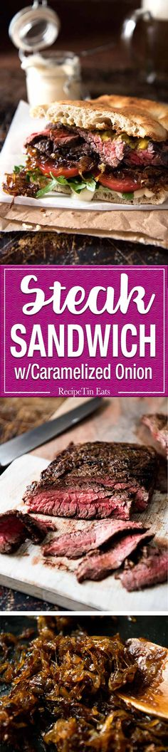 A juicy Steak Sandwich loaded with tender slices of steak, caramelised onion, garlic aioli, lettuce, tomato and mustard. Onion Recipes, Beef Recipes, Cooking Recipes, Steak Sandwich Recipes, Skirt Steak Recipes, Recipies, Deli Sandwiches, Tostadas, Tacos