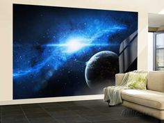 A Paradise World with a Huge City Looks Out on a Beautiful Nebula Wall Mural – Large by Stocktrek Images at AllPosters.com