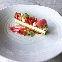 Lemon Cheesecake, Basil Cake, Rhubarb Verjus Glaze, Raspberry-Rhubarb Sorbet by Chef Shaun Velez @shvelez #mymuybuenochefs #mymuybueno #chef #food #foodporn #foodie #instafood #chefsoninstagram #foodlover #culinary #gastronomy #chefsofinstagram #discoveringchefs #foodart #chefstalk #truecooks #chefsroll #fourmagazine #theartofplating #foodexpert #pastry #pastrychef #dessert #lemon #cheesecake #basil #rhubarb #raspberry #rhubarb #sorbetmymuybuenochefs