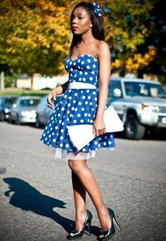 Blue and White Polka Dot Prom Dress with belt by styleiconscloset, £47.00