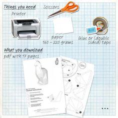 Cat DIY folding kit  easy downloads  geometric papercraft