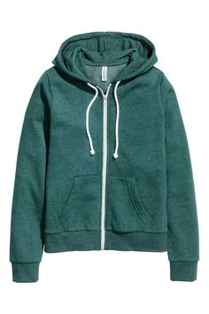 Hooded jacket: Jacket in sweatshirt fabric with a lined drawstring hood and a zip and pockets at the front. Brushed inside.