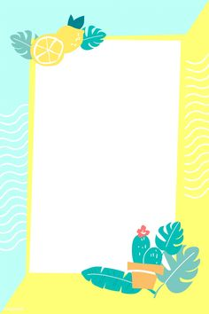Rectangle summer lemon frame vector | premium image by rawpixel.com / TK Background Powerpoint, Logo Background, Summer Wallpaper, Flower Wallpaper, Photo Collage Template, Iphone Homescreen Wallpaper, Text Frame, Instagram Background, Summer Backgrounds