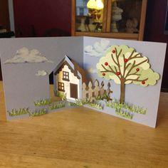 Just a note elizabeth designs pivot house die 3d Cards, Pop Up Cards, Paper Cards, Fancy Fold Cards, Folded Cards, Pop Up Karten, Diy And Crafts, Crafts For Kids, Housewarming Card