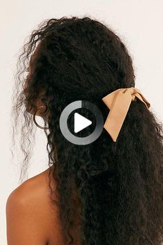Secure your strands with this too cute scrunchie featuring a femme bow detail. #curlyhairstyles Cute Natural Hairstyles, Easy Hairstyles For Medium Hair, Ponytail Hairstyles, Cute Hairstyles, Ponytail Styles, Curly Hair Styles, Natural Hair Styles, Straight Bangs, Straight Cut