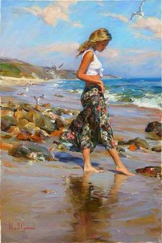 Perfect Morning a Garmash Original Painting available from J Watson Fine Art 661 your source for beautiful Michael and Inessa Garmash original paintings and limited edition artwork. Woman Painting, Figure Painting, Art Plage, Images D'art, Beach Art, Beautiful Paintings, Figurative Art, Female Art, Art Pictures