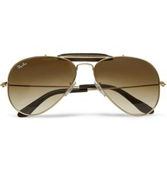 RAY-BAN OUTDOORSMAN LEATHER-TRIMMED AVIATOR SUNGLASSES