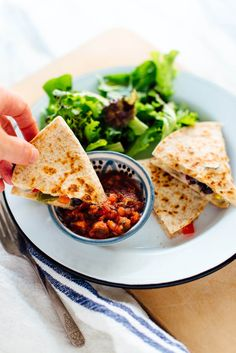 Quesadillas are the perfect quick meal. Enjoy this vegetarian quesadilla in under 10 minutes! Get the recipe at cookieandkate.com