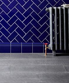 Absolute Black Granite Flamed and Brushed Granite Tile and Minton Hollins Victorian Blue Tile | Topps Tiles
