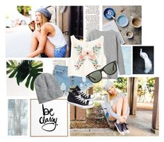 """""""Riley Voelkel"""" by cuorespezzato ❤ liked on Polyvore featuring DENY Designs, H&M, Converse, Toast, Ray-Ban, StreetStyle, croptop, converse, summerstyle and summer2015"""