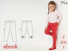 **Schnittmuster Leggings Stretchhose Mädchenleggings pdf** E-BOOK-KEIN PAPIERSCHNITT!!  Leggings mit Gummizug für Baby oder Mädchen bis 6 Jahre. 1 Schnittmuster mit 2...