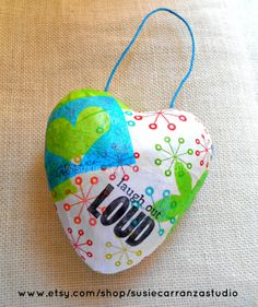 "Mixed Media Heart: ""laugh out LOUD"". Valentine/ holiday/any occasion ornament. Susie Carranza Studio on Etsy."