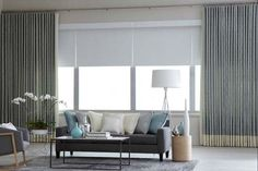 Fabric shades, curtains, and draperies are available in hundreds of fabric choices and styles, which is what makes it such fun to create your own custom window treatments with Budget Blinds! Long Curtains, Window Drapes, Curtains With Blinds, Window Coverings, Window Treatments, Bay Window, Budget Blinds, Custom Drapes, Minimalist Home Decor