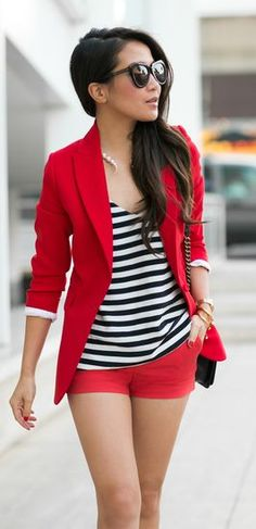 Red Suit Outfit Idea by Wendy's Lookbook- not sure I'd pair a red blazer with red shorts, but I love both separately if the shorts were longer!