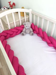 Braided Hot Pink Crib Bumper - Knot Cushion, Knot Pillow for Nursery - Natural Fabric - High Quality Filling - 100% Hypoallergenic - All sizes  #crib #cribbumper #nursery #babyroom #babynurserydecor #babyroomstyle #kidsroom #childrensroom #kidsbedroom #childrensbedroom #playroom #babygift #newmomgift #newmom #babyshowergift #babyshower #newmommy #mommy #momgoals