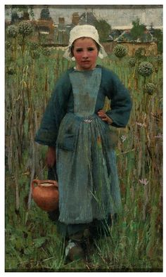 Peasant Girl Carrying a Jar, Quimperlé        Object:        Oil painting      Place of origin:        Quimperlé, France (painted)      Date:        1882 (painted)      Artist/Maker:        Clausen, George (Sir), born 1852 - died 1944 (artist)      Materials and Techniques:        oil on canvas      Credit Line:        Bequeathed by Henry L. Florence      Museum number:        P.54-1917      Gallery location:        In Storage