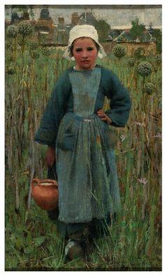Peasant Girl Carrying a Jar    ~Sir George Clausen (1852-1944)