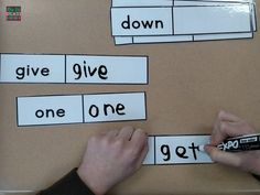 Sight words center! Reusable way to build in sight word practice. This set comes with letter pieces for non-writers! These are great for work task boxes, early finishers, centers, etc. These strips are especially good for special education classrooms, inclusion settings, homeschool settings, and more!!!